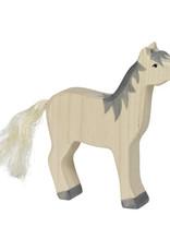 Holztiger Houten paard wit met grijze manen