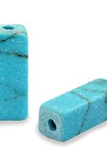 Natuursteen kraal tube turquoise blue marmer (1x)