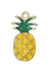 Bedel ananas geel metaal/emaille (1x)