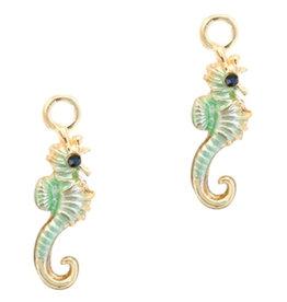 Bedel zeepaardje lichtgroen turquoise goud (1x)