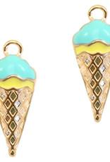 Bedel ijsje goud / turquoise ( 1x)