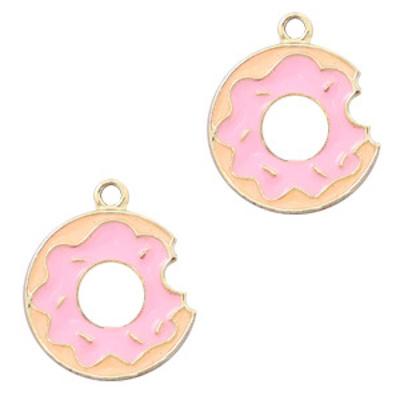 Bedel metaal donut goud roze (1x)