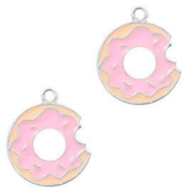 Bedel metaal donut zilver roze (1x)