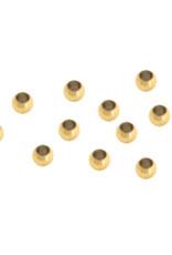 Knijpkralen rvs goud  2 mm (10x)