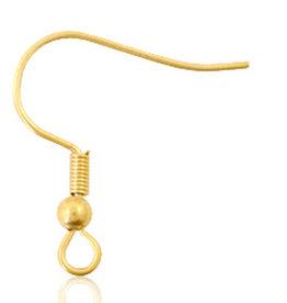 betaalbare kralen Rvs oorbelhaken  goud (p.p)