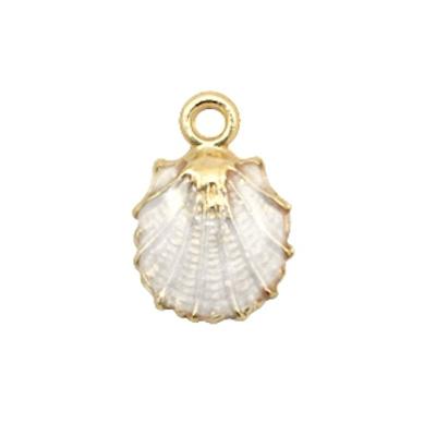 Bedel oesterschelp goud / wit (1x)
