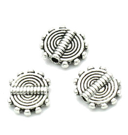 Platte metalen kraal met streep antiek zilver (10x)