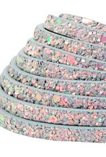 Plat glitterleer grijs imitatie 5 mm (p/m)