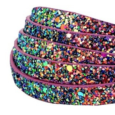 Plat glitterleer paars magenta imitatie 5 mm (p/m)