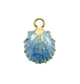 Bedel oesterschelp goud / blauw (1x)