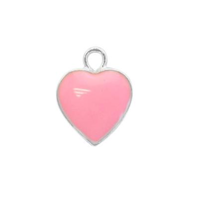 Bedel hartje roze-zilver (1x)