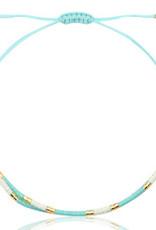 Armbandje miyuki turquoise wit