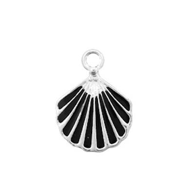 Bedel bq metaal schelp zwart zilver (1x)