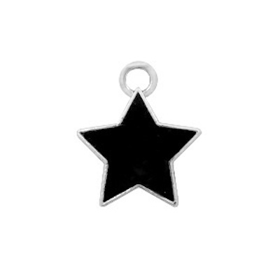 Bedel bq metaal ster zwart zilver (1x)