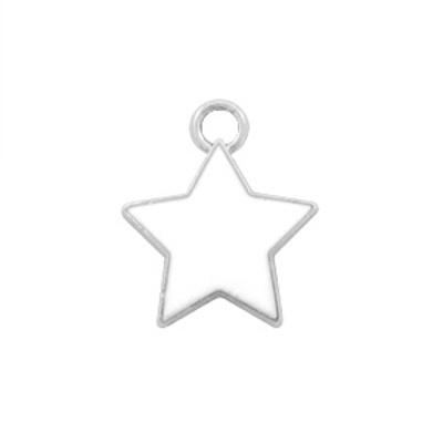 Bedel bq metaal ster wit zilver (1x)