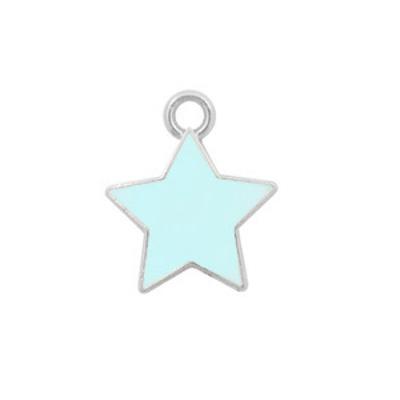 Bedel bq metaal ster lichtblauw zilver (1x)