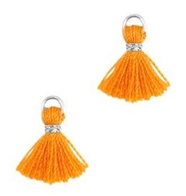 Minikwastje oranje 1 cm met zilver ringetje