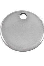 Bedel roestvrij staal munt  antiek zilver 7 mm (1x)