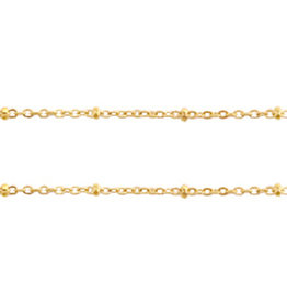 Jasseron rvs goud 1.4 mm met bolletje (p/10 cm)