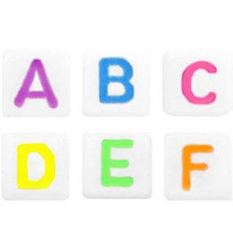 Letterkralenmix  wit met neon (250x)