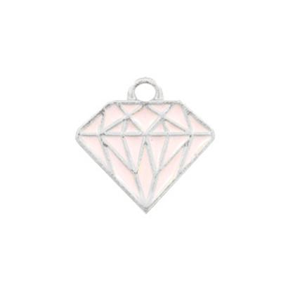Bedel bq metaal diamant roze zilver (1x)