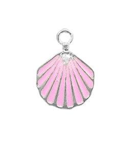 Bedel bq metaal schelp roze zilver (1x)