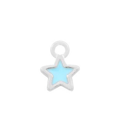 Bedel bq metaal mini ster lichtblauw zilver (1x)