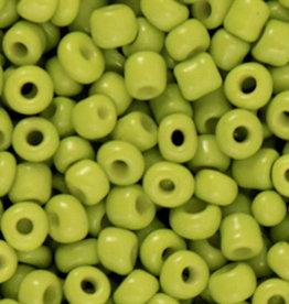 Glaskralen rocailles 4 mm 6/0 licht olijfgroen (10gr)
