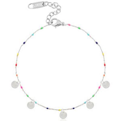 Enkelbandje rvs zilver/rainbow muntjes