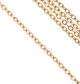 Schakelketting rvs goud 2 x 1.5 x 0.4 mm (p/10 cm)
