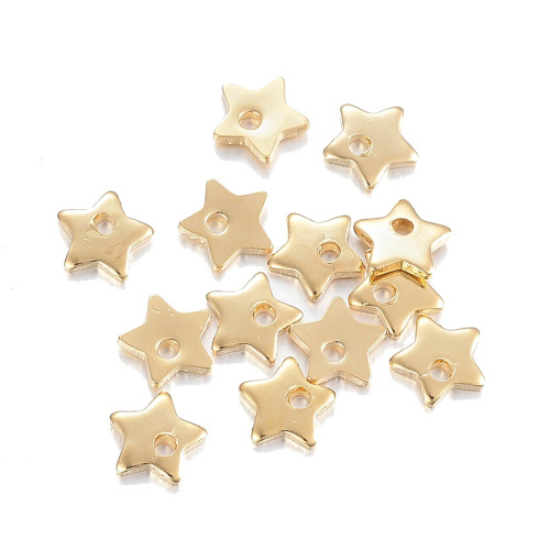 Bedel rvs ster goud 5,5 x 6 mm (1x)