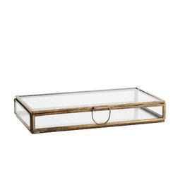 Madame Stoltz Glazen doos langwerpig brass