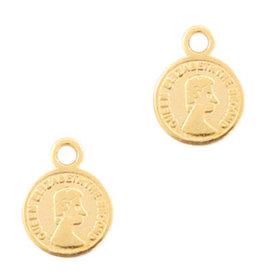 Bedel muntje 8 mm goud dq metaal  (1x)