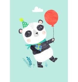 Petit Monkey Postkaart Panda met ballon