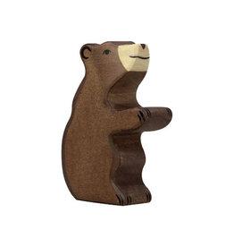 Holztiger Kleine bruine beer van hout