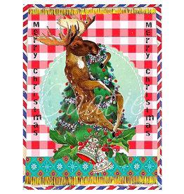 Kaartje van Caatje Postkaart Merry Christmas rendier in de boom