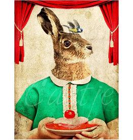Kaartje van Caatje Postkaart haas in jurk