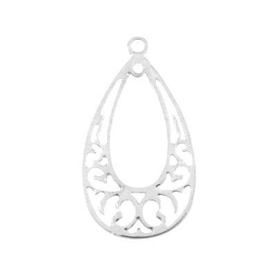 Filigraan hanger open druppel zilver (1x)