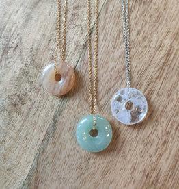 Rvs ketting met gemstone donuthanger