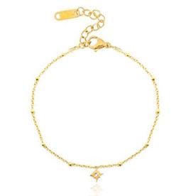 Armband rvs goud lucky star
