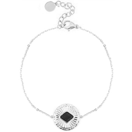 Armband rvs zilver zwarte onyx
