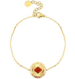 Armband rvs goud rode jasper