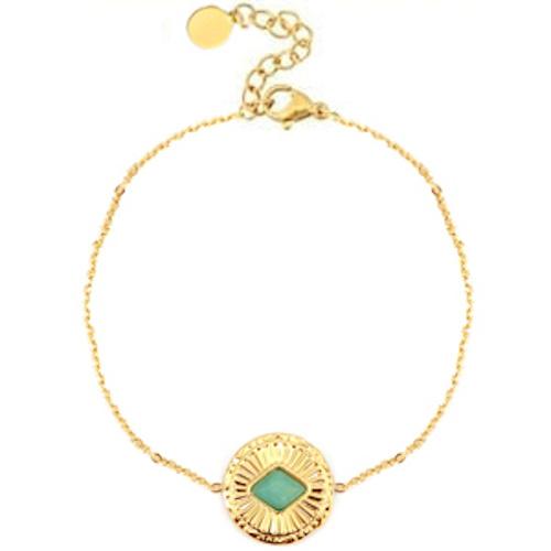Armband rvs goud amazoniet