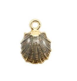 Bedel oesterschelp goud met antracietzwart (1x)
