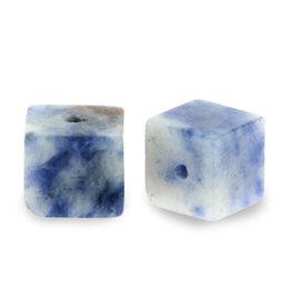Natuursteenkraal kubus 8 mm blauw wit