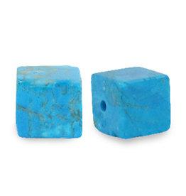 Natuursteenkraal kubus 8 mm turquoise azuur