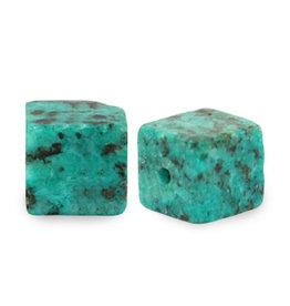 Natuursteenkraal kubus 8 mm turquoise zeegroen