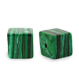 Natuursteenkraal kubus 8 mm malachiet