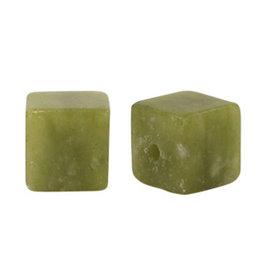 Natuursteenkraal kubus 8 mm jade olijfgroen