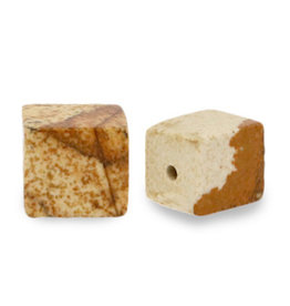 Natuursteenkraal kubus 8 mm porcini bruin